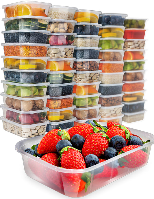 Prep Naturals Food Storage Containers With Lids -[50 pack,17oz] Plastic Containers With Lids Plastic Containers for Food Container With Lid - Freezer Containers Plastic Food Containers Deli Containers - PrepNaturals - Meal Prepping - Food Storage Containers