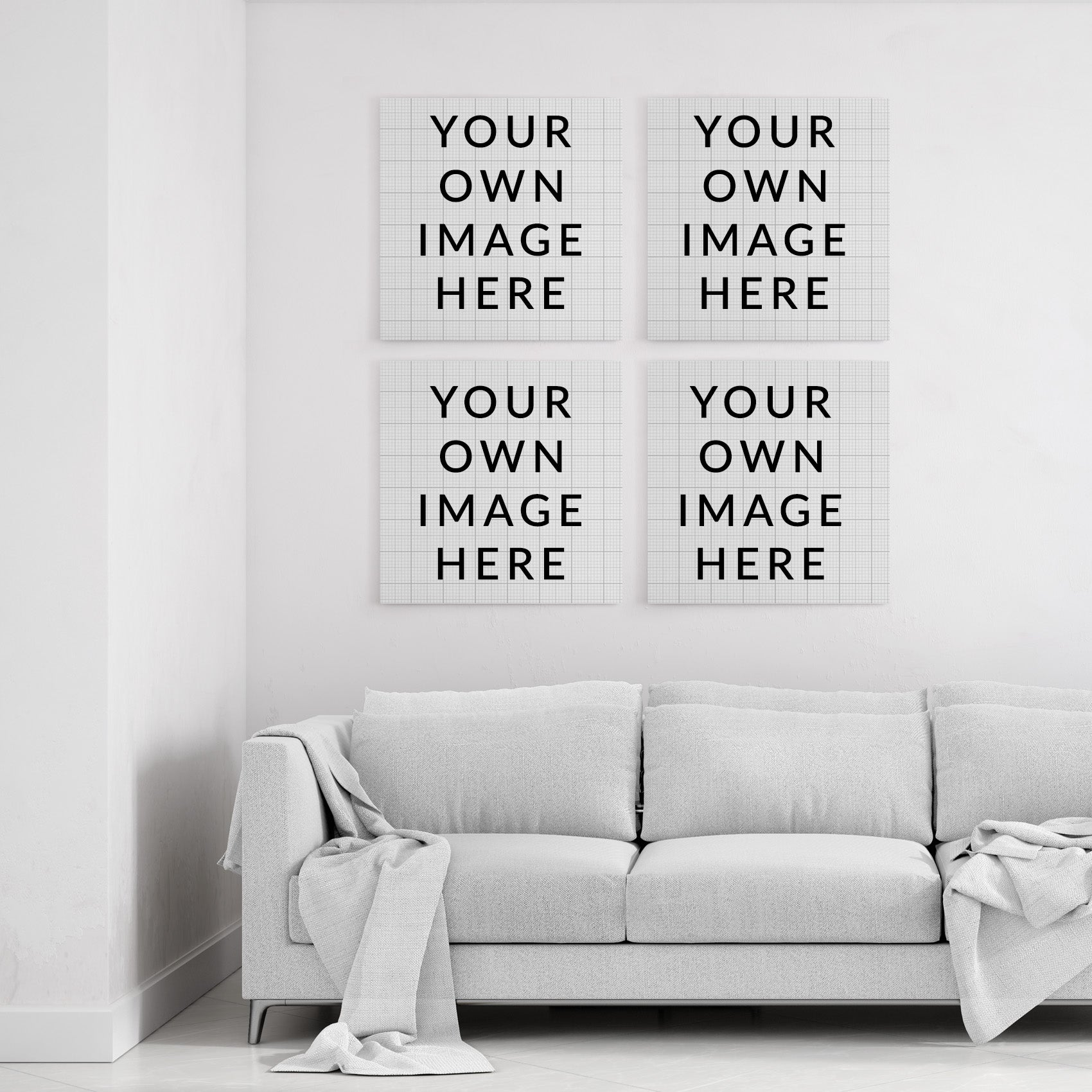 Your own images - Custom Canvas Art (4 square canvases)