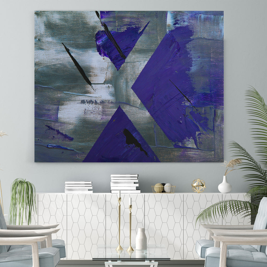 Abstract Purple & Silver - Canvas Art