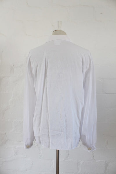 VINTAGE SHEER SLEEVES WHITE BLOUSE TOP SHIRT - SIZE 18