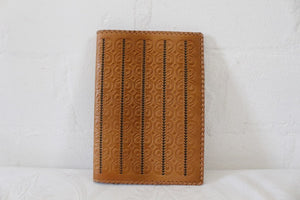 VINTAGE GENUINE LEATHER TOOLED BROWN BOOK COVER HOLDER