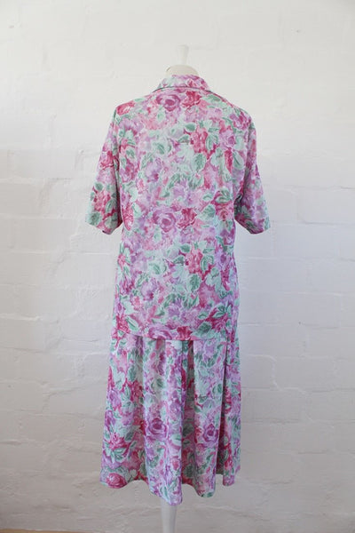 VINTAGE PINK GREEN FLORAL PRINT TWO PIECE TOP SKIRT SET - SIZE XL