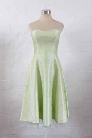 100% SILK LIME GREEN STRAPLESS COCKTAIL PARTY PROM DRESS - SIZE 6