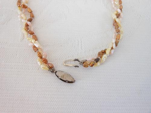 VINTAGE REAL FRESHWATER RICE PEARL THREE-STRAND BROWN CREAM NECKLACE