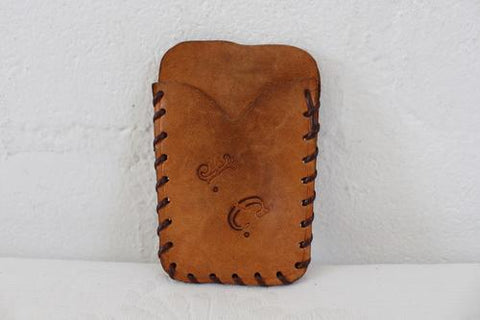 VINTAGE TAN BROWN GENUINE LEATHER KEY RING POUCH