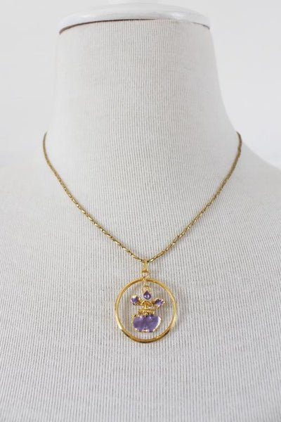 VINTAGE PURPLE SINGAPORE ORCHID GOLD PLATED CHAIN NECKLACE