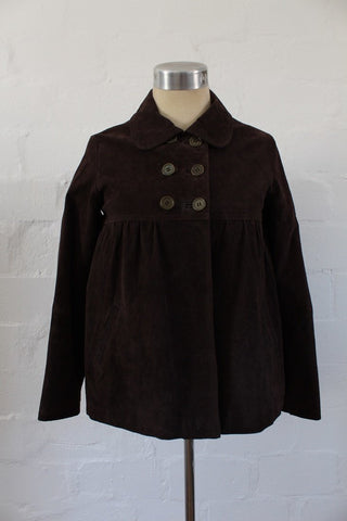 *GENUINE SUEDE LEATHER* BROWN JACKET COAT - SIZE XS