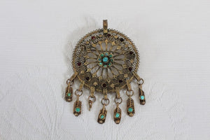 VINTAGE FILIGREE GOLD PLATED TURQUOISE STONE DREAM CATCHER BROOCH PENDANT