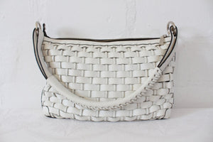 *WEILL BOUTIQUE* DESIGNER GENUINE LEATHER WHITE WOVEN SHOULDER BAG HANDBAG