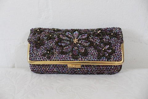 VINTAGE PURPLE BEADED SEQUINED FLOWER EVENING CLUTCH BAG PURSE