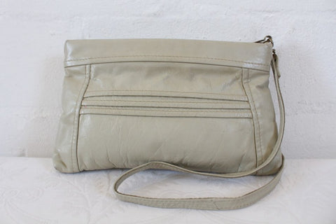 VINTAGE GENUINE LEATHER CREAM SLING HANDBAG CLUTCH BAG PURSE