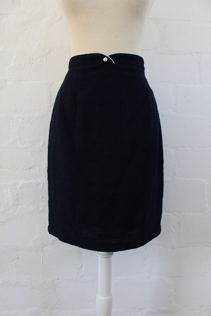 VINTAGE NAVY BLUE HIGH WAIST FITTED PENCIL SKIRT - SIZE 8
