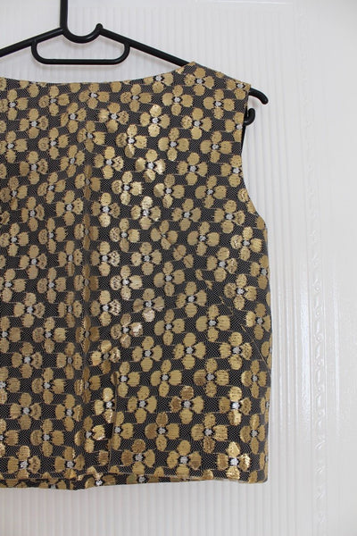 VINTAGE GOLD BLACK FLORAL NET CROPPED TOP - SIZE 6