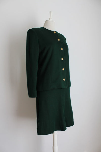 *CHRIS LEVIN* DESIGNER VINTAGE GREEN WOOL SKIRT JACKET SUIT - SIZE 12