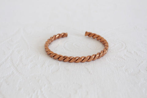 VINTAGE COPPER BRAIDED CUFF BRACELET BANGLE