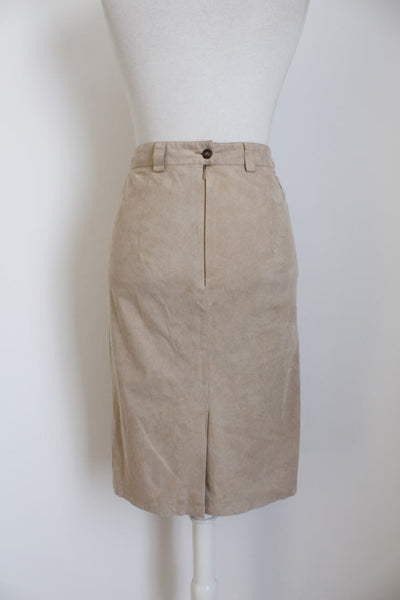 VINTAGE FAUX SUEDE BEIGE PENCIL SKIRT - SIZE 8