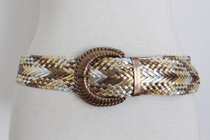 VINTAGE GOLD SILVER FAUX LEATHER WOVEN PLAITED WIDE BELT