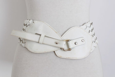 VINTAGE GENUINE LEATHER WHITE WOVEN WIDE BELT
