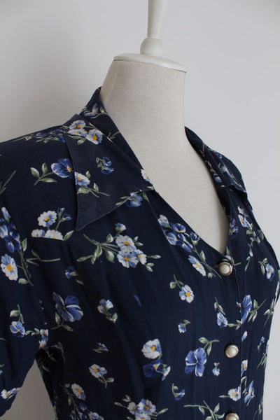 VINTAGE FLORAL NAVY BLUE TIE BACK SUMMER DAY DRESS - SIZE 14