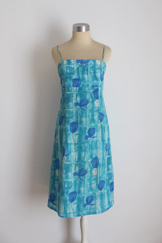 VINTAGE BLUE SPAGHETTI STRAP SUMMER DAY DRESS - SIZE 10