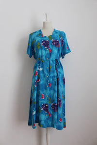 VINTAGE BLUE FLORAL PRINT TIE WAIST DAY DRESS - SIZE 14
