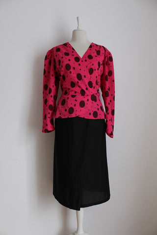 VINTAGE POLKA DOT PRINT PINK BLACK PEPLUM DRESS - SIZE 20