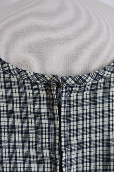 VINTAGE CHECK PLAID BLUE BEIGE SLEEVELESS SHIFT DRESS - SIZE 10