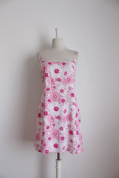 VINTAGE STRAPPY PINK WHITE FLORAL PRINT SUMMER DRESS - SIZE 12
