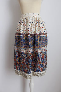 VINTAGE HIGH WAIST CREAM BLUE PAISLEY FLORAL SKIRT - SIZE 8