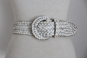 GENUINE LEATHER WHITE VINTAGE WOVEN BRAIDED BELT