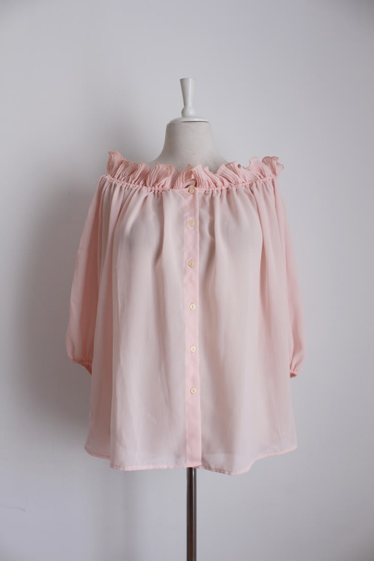 VINTAGE RUFFLED OFF THE SHOULDER PINK BLOUSE SHIRT TOP - SIZE L