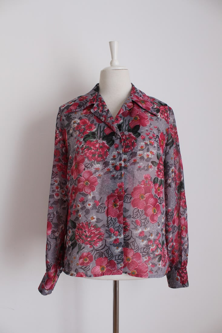 VINTAGE FLORAL PINK GREY LONG SLEEVE SHIRT TOP BLOUSE - SIZE 14