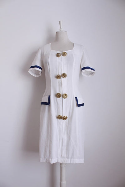 VINTAGE BUTTON DOWN WHITE BLUE SHIFT DRESS - SIZE 10