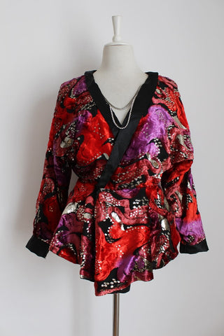 VINTAGE VELOUR PRINTED GOLD PEPLUM NECKLACE JACKET - SIZE 12