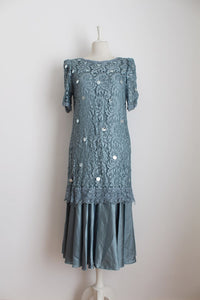 VINTAGE GREY BLUE LACE SEQUINED SATIN COCKTAIL EVENING DRESS - SIZE 12