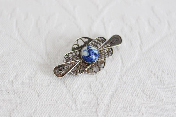 DELFT HOLLAND STERLING SILVER VINTAGE BROOCH PIN