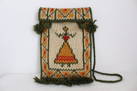 VINTAGE HAND MADE WOOL KNITTED BAG