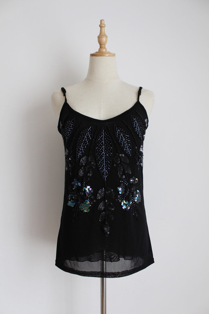 Y2K BLACK SEQUIN BEADED CAMISOLE TOP - SIZE M