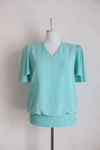 VINTAGE PASTEL BLUE FLARED SLEEVE BLOUSE - SIZE 12