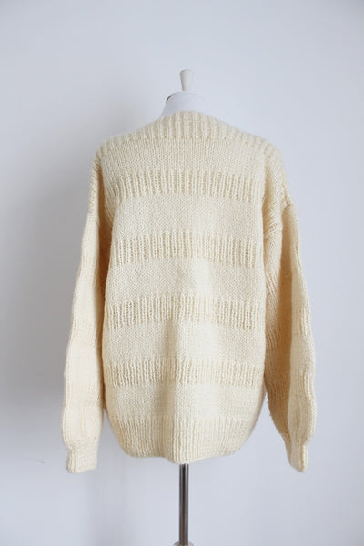 VINTAGE MOHAIR WOOL CREAM JERSEY SWEATER - SIZE XL