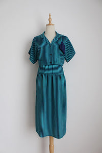 VINTAGE NAVY BLUE STRIPE DRESS - SIZE 10/12