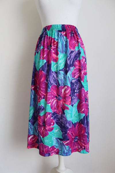 VINTAGE TROPICAL PRINT FLORAL PURPLE SKIRT - SIZE 16