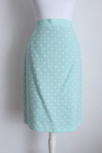 VINTAGE MINT BLUE WHITE POLKA DOT PRINT PENCIL SKIRT - SIZE 12