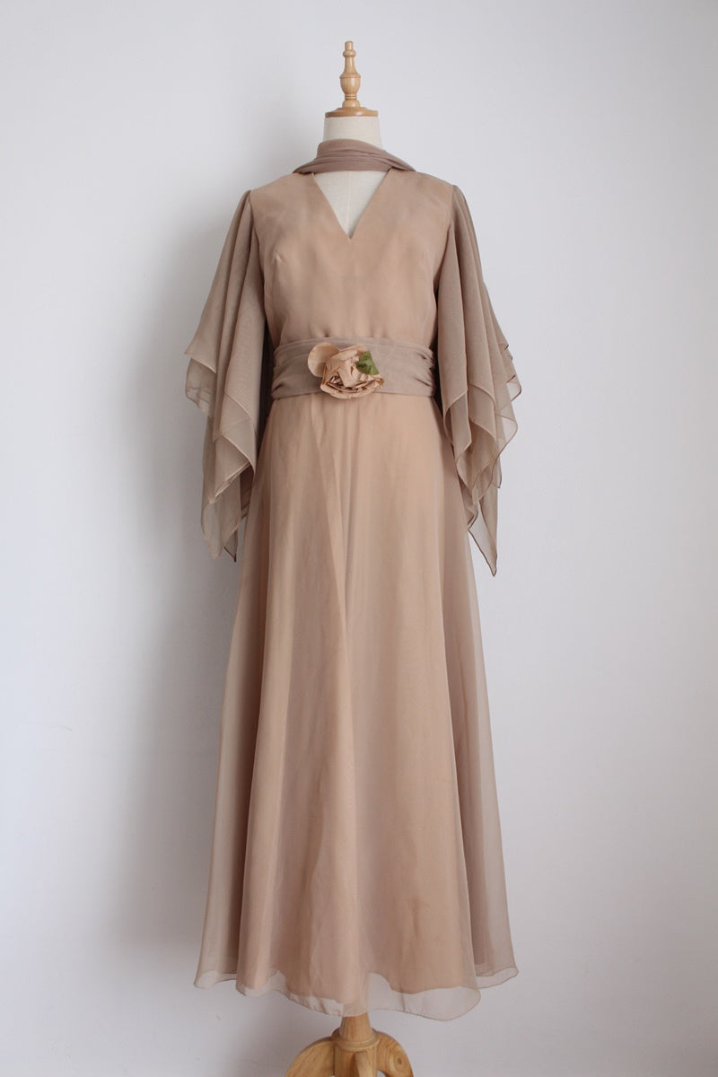 VINTAGE BEIGE CHIFFON ANGEL SLEEVES DRESS - SIZE 10