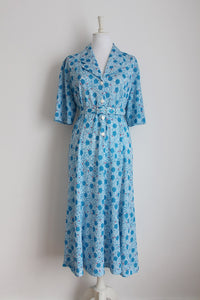 VINTAGE POLKA DOT BLUE WHITE BELTED DAY DRESS - SIZE 18