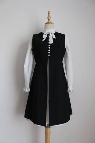VINTAGE GILET DRESS TWO PIECE WHITE BLACK - SIZE 8