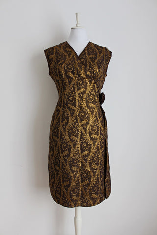 VINTAGE GOLD BROWN BROCADE COCKTAIL FORMAL DRESS - SIZE 14