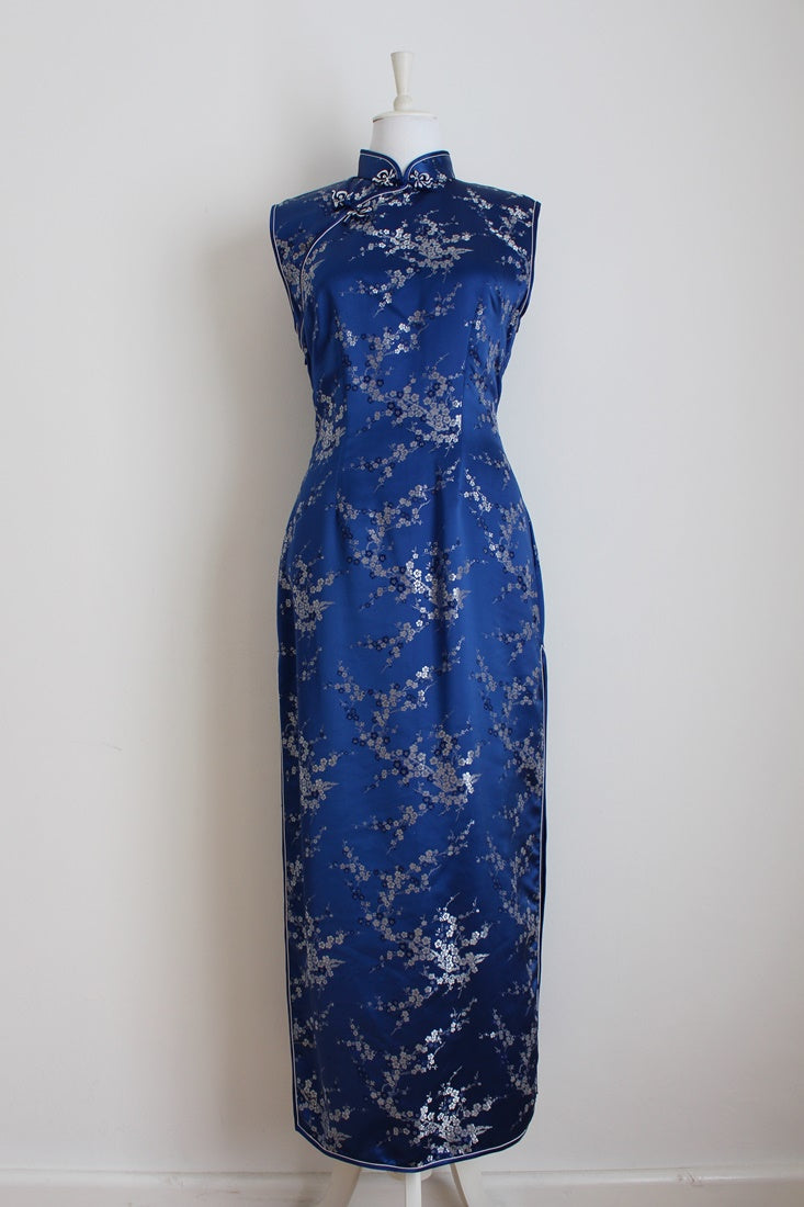 VINTAGE CHINESE SATIN EMBROIDERY FORMAL DRESS - SIZE 12