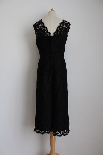 VINTAGE BLACK LACE OVERLAY COCKTAIL DRESS - SIZE 8
