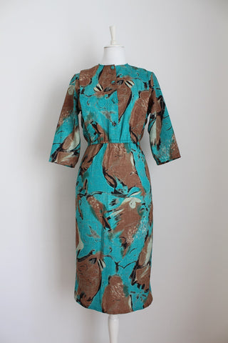 VINTAGE BROWN GREEN PRINTED DRESS - SIZE 10